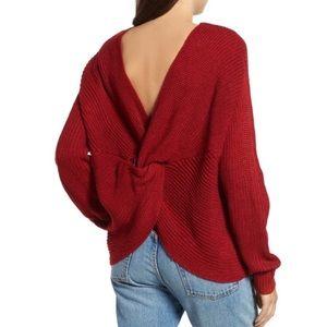 somedays lovin' cozy red twist back knit sweater